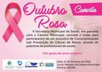 Câmara e Secretaria de Saúde promovem nesta quinta encontro Outubro Rosa