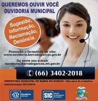 A Ouvidoria Municipal de Barra do Garças divulga 4º relatório trimestral do ano de 2015 e relatório anual