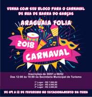 Inscrição dos Blocos para o carnaval de Barra do Garças começa nesta terça-feira