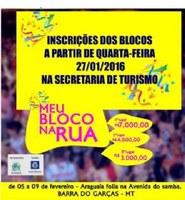 Secretaria de Turismo abre inscrições para blocos de rua que queiram participar do carnaval Araguaia Folia 2016